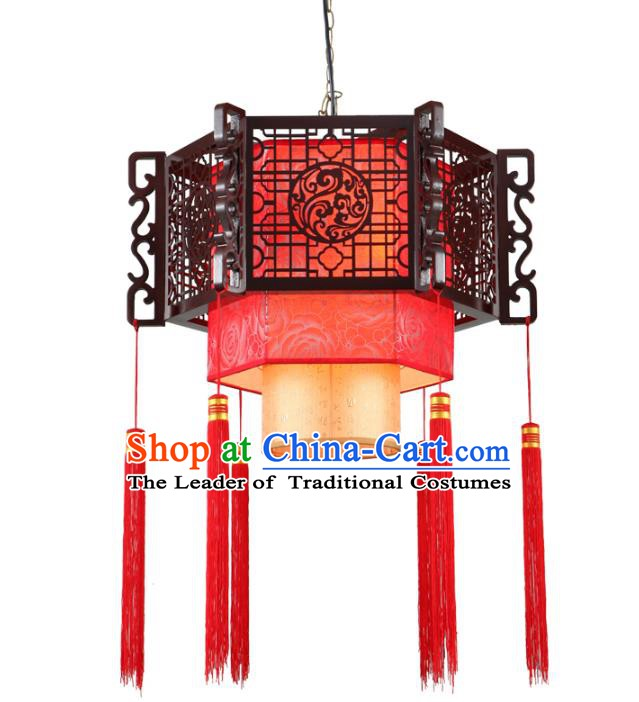 Traditional Chinese Wood Carving Hanging Palace Lanterns Handmade Wedding Lantern Ancient Ceiling Lamp