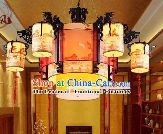 Traditional Chinese Dragon Head Hanging Palace Lanterns Handmade Six-Lights Lantern Ancient Ceiling Lamp