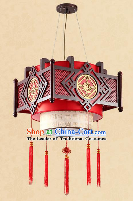 Traditional Chinese Wood Hanging Palace Lanterns Handmade Red Lantern Ancient Ceiling Lamp