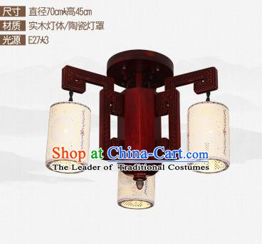 Traditional Chinese Three-lights Ceiling Palace Lanterns Handmade Ceramics Lantern Ancient Lamp