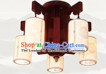 Traditional Chinese Five-lights Ceiling Palace Lanterns Handmade Ceramics Lantern Ancient Lamp