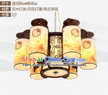 Traditional Chinese Printing Six-lights Ceiling Palace Lanterns Handmade Wood Lantern Ancient Lamp