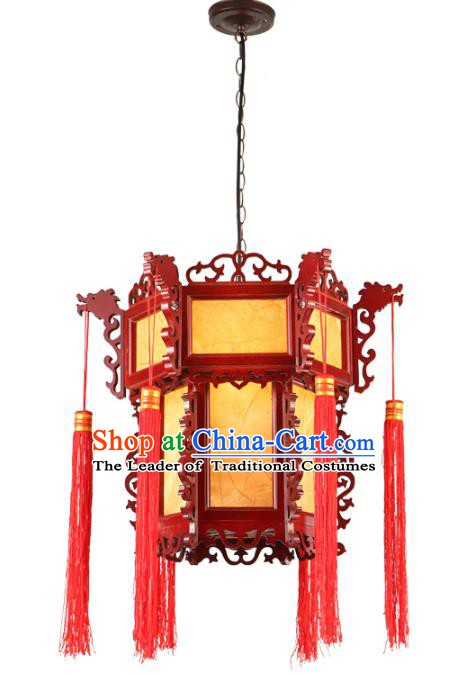 Traditional Chinese Parchment Hanging Palace Lanterns Handmade Head Dragon Lantern Ancient Ceiling Lamp