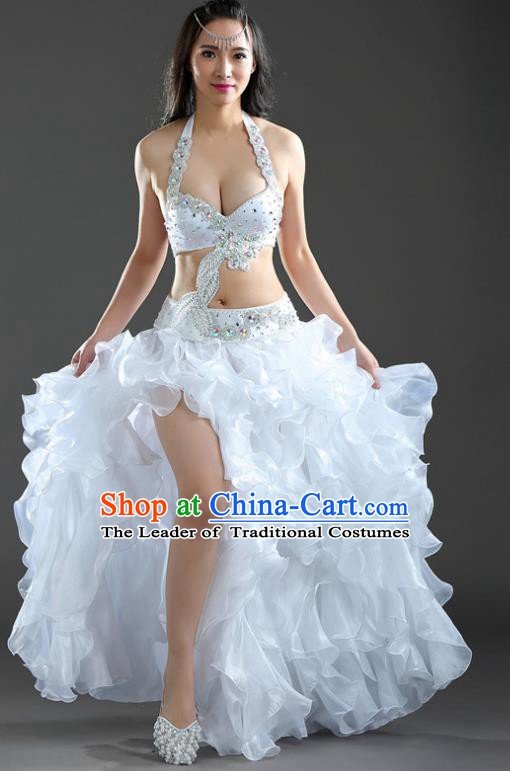 Indian National Belly Dance White Dress India Bollywood Oriental Dance Costume for Women