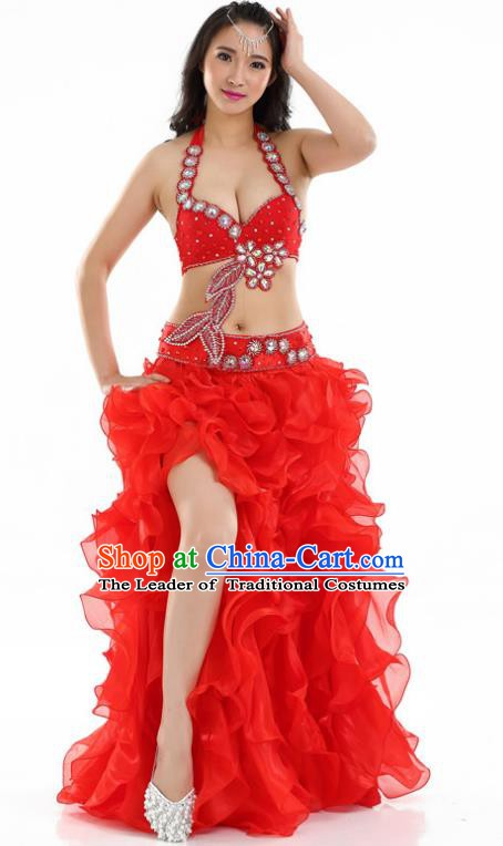 Indian National Belly Dance Red Dress India Bollywood Oriental Dance Costume for Women