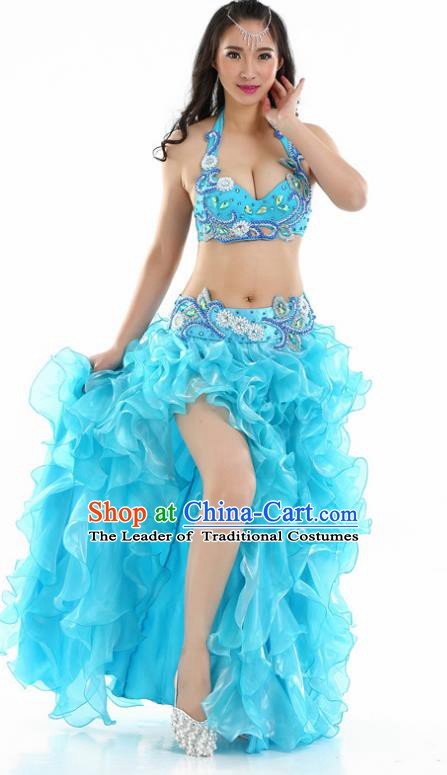 Indian National Belly Dance Blue Dress India Bollywood Oriental Dance Costume for Women