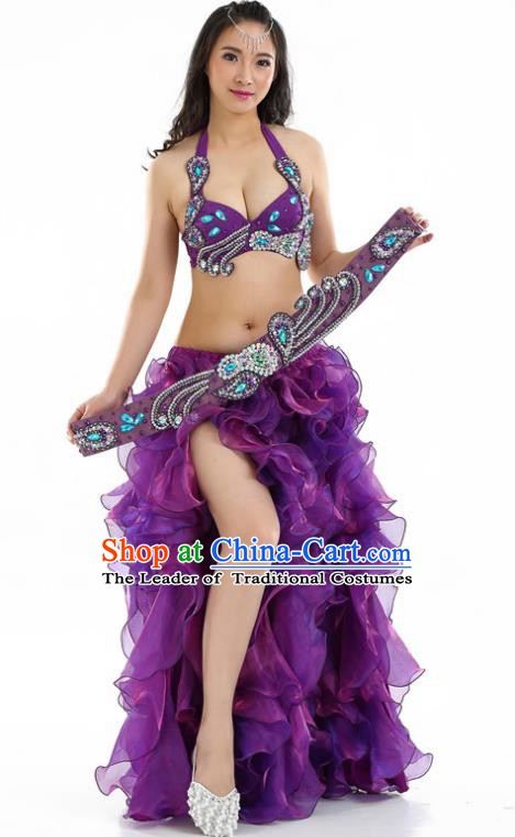 Indian National Belly Dance Purple Sequenced Dress India Bollywood Oriental Dance Costume for Women