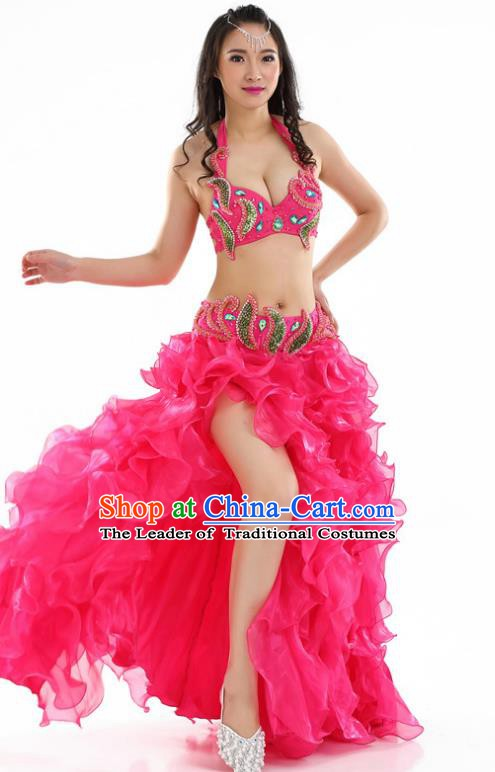Indian National Belly Dance Rosy Sequenced Dress India Bollywood Oriental Dance Costume for Women
