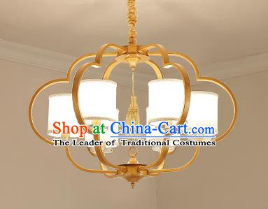 Traditional Chinese Gold-framed Ceiling Palace Lanterns Handmade Six-Lights Lantern Ancient Lamp