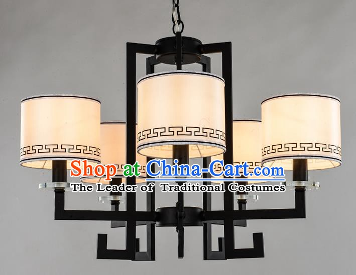 Traditional Chinese Ceiling Palace Lanterns Handmade Five-Lights Lantern Ancient Lamp