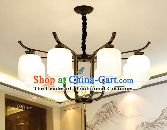 Traditional Chinese Style Ceiling Palace Lanterns Handmade Eight-Lights Lantern Ancient Lamp