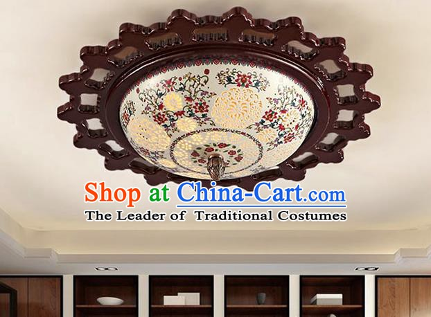 Traditional Chinese Ceiling Palace Lanterns Handmade Pierced Colorful Porcelain Lantern Ancient Lamp