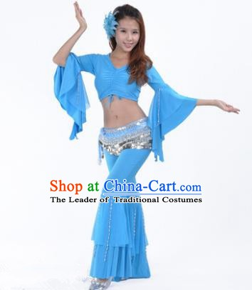 Indian National Belly Dance Mandarin Sleeve Clothing India Oriental Dance Blue Costume for Women