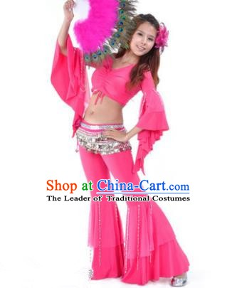 Indian National Belly Dance Mandarin Sleeve Clothing India Oriental Dance Rosy Costume for Women