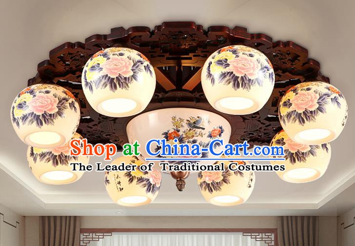 Traditional Chinese Painting Peony Ceiling Palace Lanterns Handmade Eight-Lights Porcelain Lantern Ancient Lamp