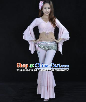 Indian National Belly Dance Mandarin Sleeve Clothing India Oriental Dance Pink Costume for Women