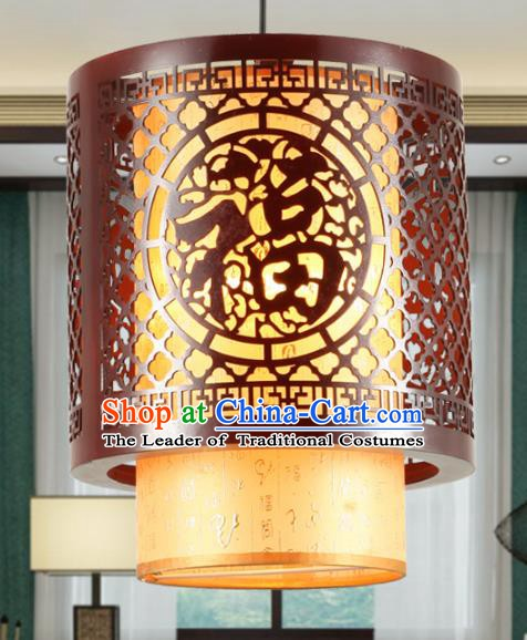 Traditional Chinese Wood Palace Hanging Lanterns Handmade Lantern Ancient Ceiling Lamp