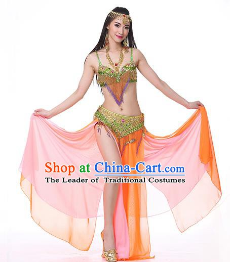 Indian National Belly Dance Clothing India Oriental Dance Sexy Orange Dress for Women