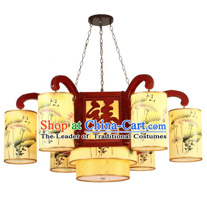 Traditional Chinese Palace Hanging Lanterns Handmade Painted Lotus Lantern Ancient Ceiling Lamp