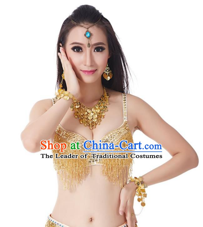 Indian National Belly Dance Costume Sexy Golden Tassel Brassiere for Women