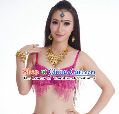 Indian National Belly Dance Costume Sexy Rosy Tassel Brassiere for Women