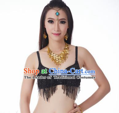 Indian National Belly Dance Costume Sexy Black Tassel Brassiere for Women