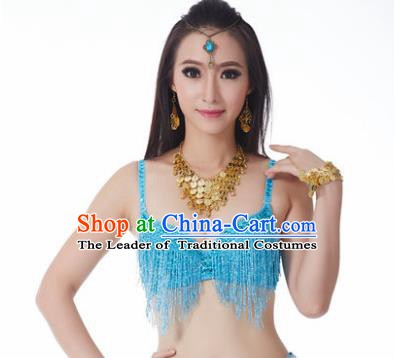Indian National Belly Dance Costume Sexy Blue Tassel Brassiere for Women