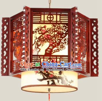 Traditional Chinese Wood Carving Plum Blossom Palace Hanging Lanterns Handmade Lantern Ancient Ceiling Lamp