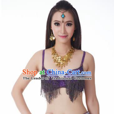 Indian National Belly Dance Costume Sexy Purple Tassel Brassiere for Women