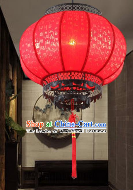 Traditional Chinese New Year Red Palace Hanging Lanterns Handmade Lantern Ancient Ceiling Lamp