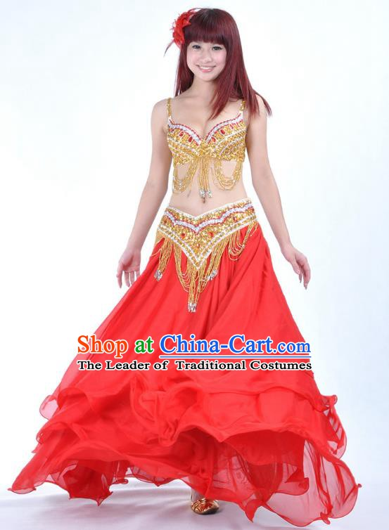 Indian National Belly Dance Costume Bollywood Oriental Dance Red Dress for Women