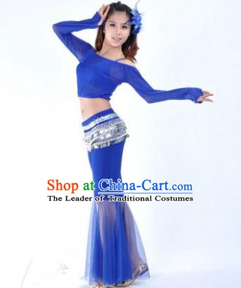 Indian National Belly Dance Royalblue Uniform Bollywood Oriental Dance Costume for Women