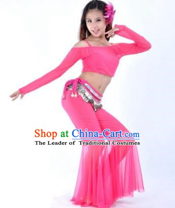 Indian National Belly Dance Rosy Uniform Bollywood Oriental Dance Costume for Women
