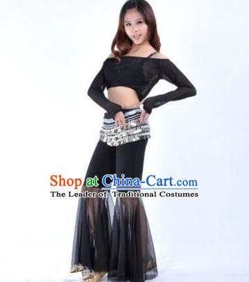 Indian National Belly Dance Black Uniform Bollywood Oriental Dance Costume for Women
