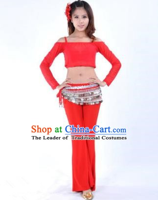 Indian National Belly Dance Red Uniform Bollywood Oriental Dance Costume for Women