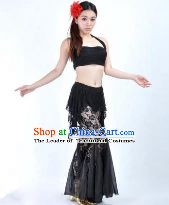 Indian National Belly Dance Black Lace Suits Bollywood Oriental Dance Costume for Women