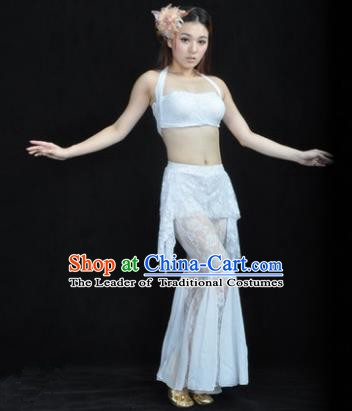 Indian National Belly Dance White Lace Suits Bollywood Oriental Dance Costume for Women