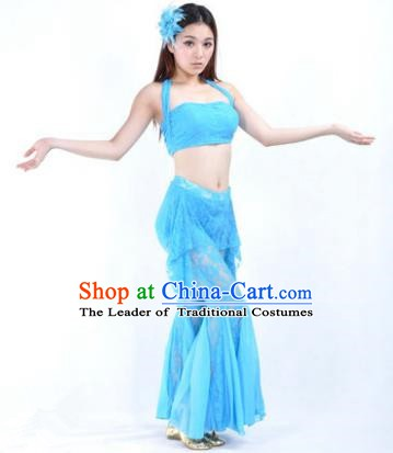 Indian National Belly Dance Blue Lace Suits Bollywood Oriental Dance Costume for Women