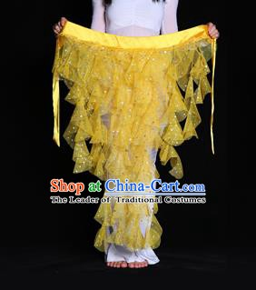 Indian Belly Dance Yellow Waist Scarf Waistband India Raks Sharki Belts for Women