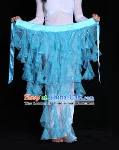 Indian Belly Dance Blue Waist Scarf Waistband India Raks Sharki Belts for Women