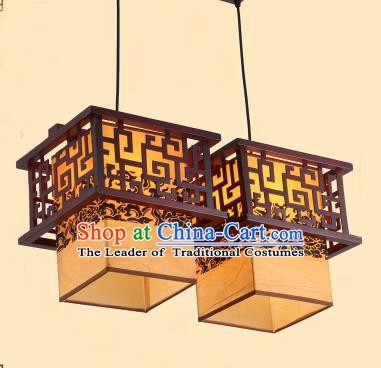 Traditional Chinese Two-Lights Palace Lanterns Handmade Wood Hanging Lantern Ancient Ceiling Lamp