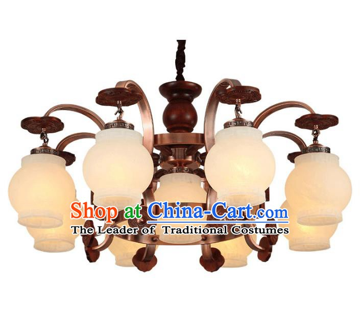 Traditional Chinese Palace Lanterns Handmade Eight-Lights Lantern Ancient Ceiling Lamp