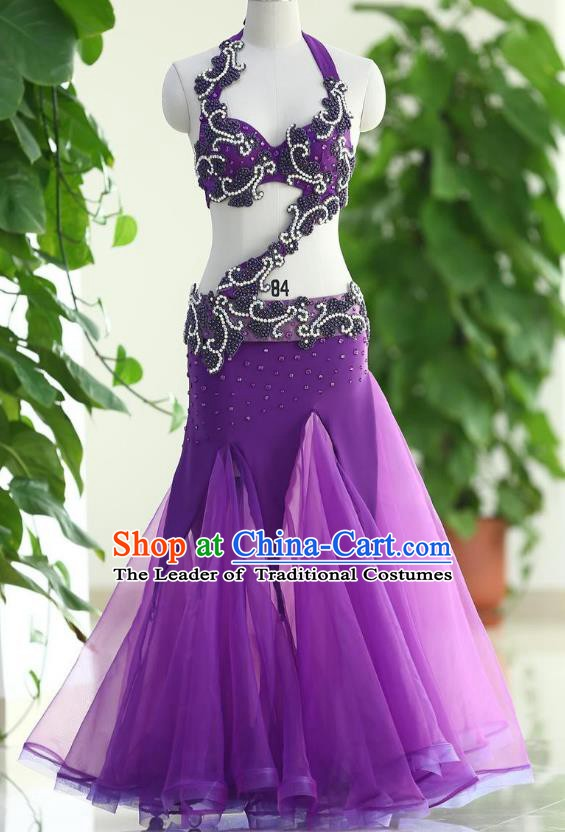 Traditional Indian National Belly Dance Purple Veil Dress India Bollywood Oriental Dance Costume for Women