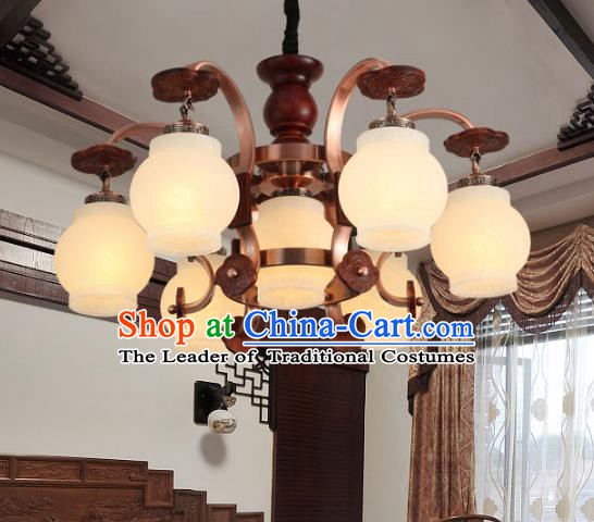Traditional Chinese Palace Lanterns Handmade Seven-Lights Lantern Ancient Ceiling Lamp