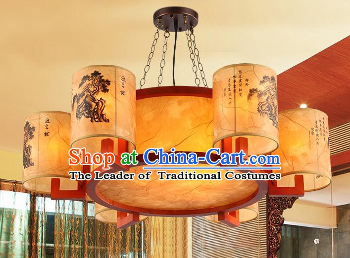 Traditional Chinese Ceiling Palace Lanterns Handmade Six-Lights Lantern Ancient Hanging Lamp