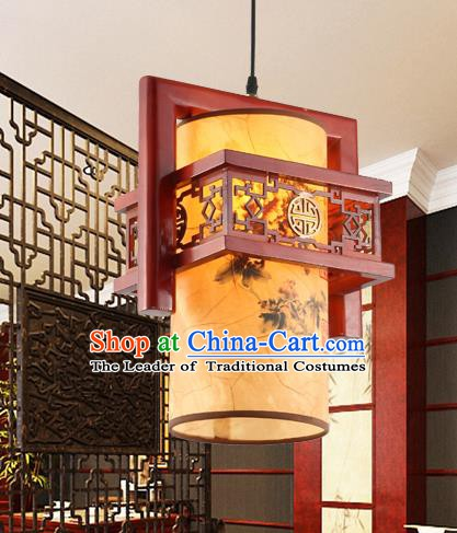 Traditional Chinese Printing Ceiling Palace Lanterns Handmade Wood Hanging Lantern Ancient Lamp