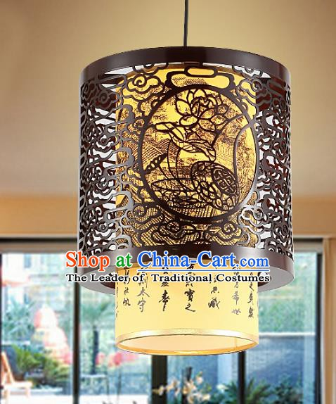 Traditional Chinese Lotus Ceiling Palace Lanterns Handmade Wood Hanging Lantern Ancient Lamp