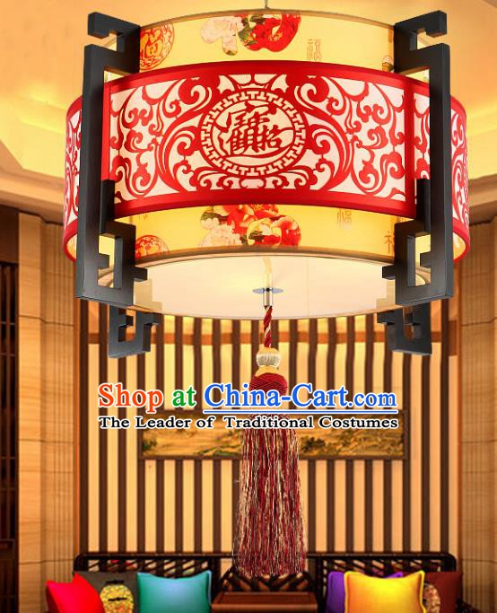 Traditional Chinese Carving Ceiling Palace Lanterns Handmade Wood Hanging Lantern Ancient Lamp
