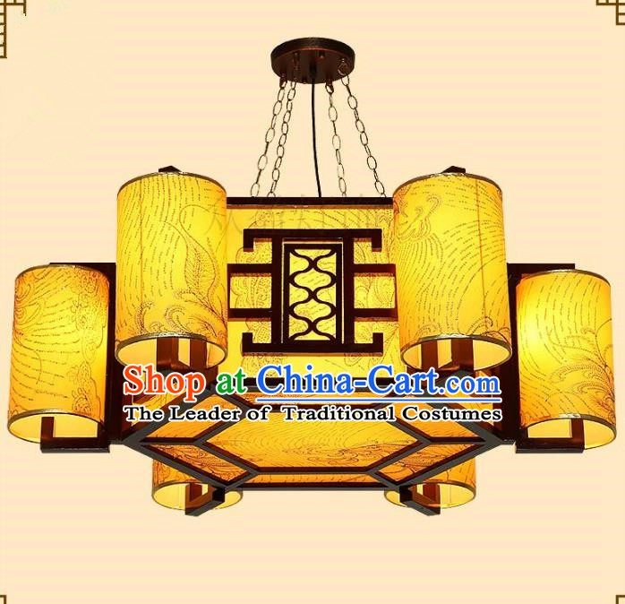Traditional Chinese Golden Ceiling Palace Lanterns Handmade Wood Hanging Lantern Ancient Lamp