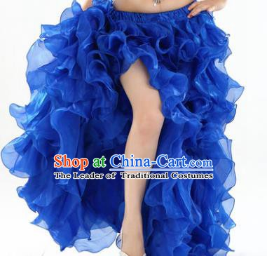 Traditional Indian National Belly Dance Royalblue Bubble Split Skirt India Bollywood Oriental Dance Costume for Women